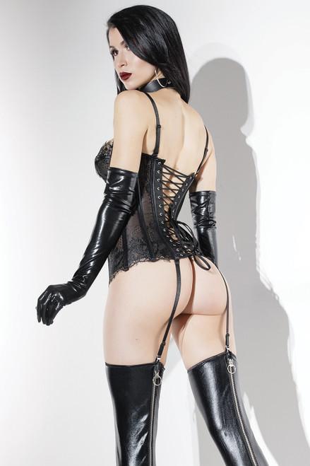 Coquette PVC Lace Bustier in Black Online