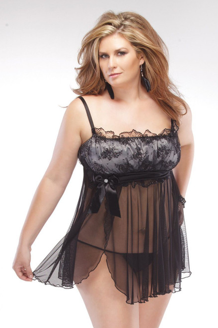 Just Satin Lace Babydoll Set Open Size XL