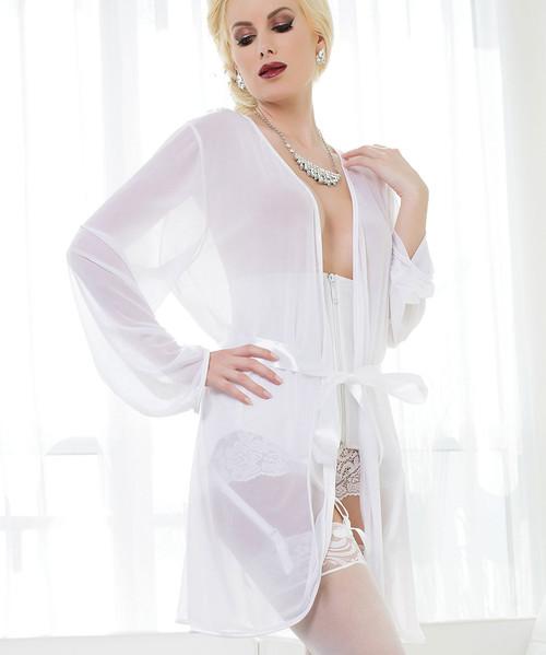 Buy Mesh Kimono Robe | White