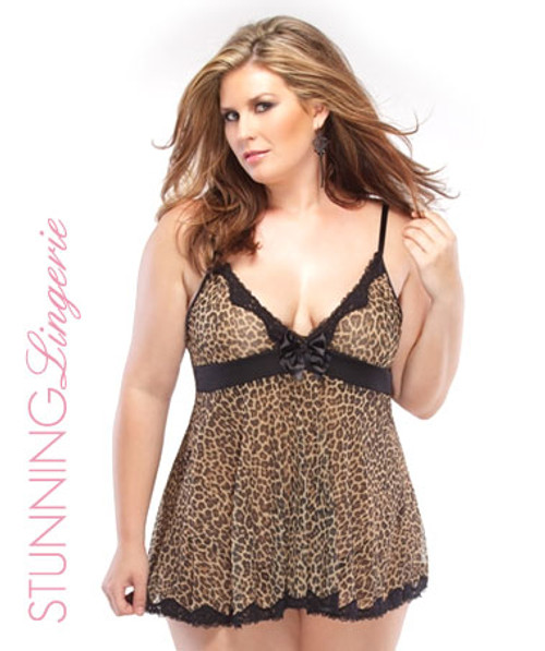 Leopard Mesh Babydoll & G-String Sexy Lingerie Online