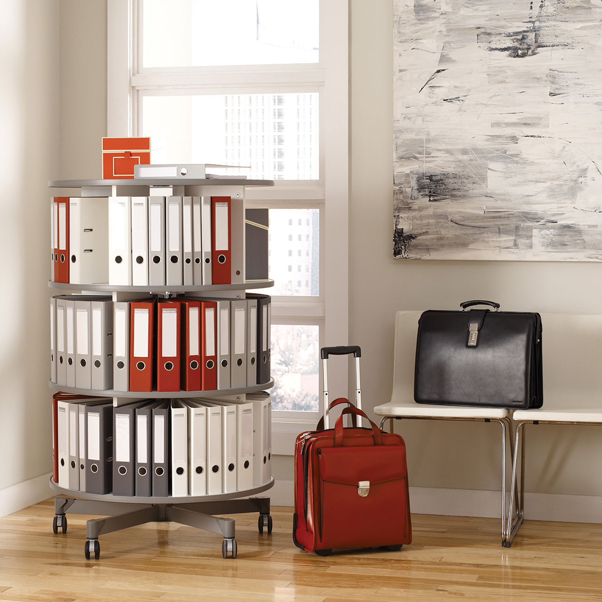 Moll One Turn Binder & File Carousel, 3-Tier Shelving