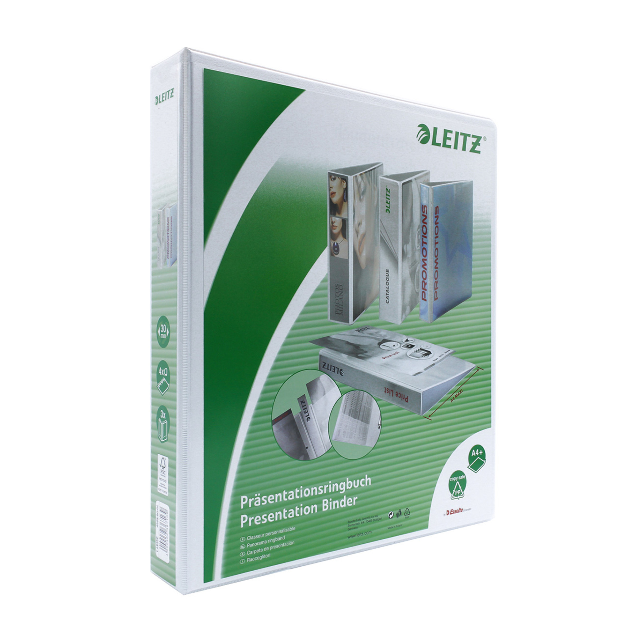 """Leitz 4-Ring View Binder, A4 Size, 2"""" Spine"""