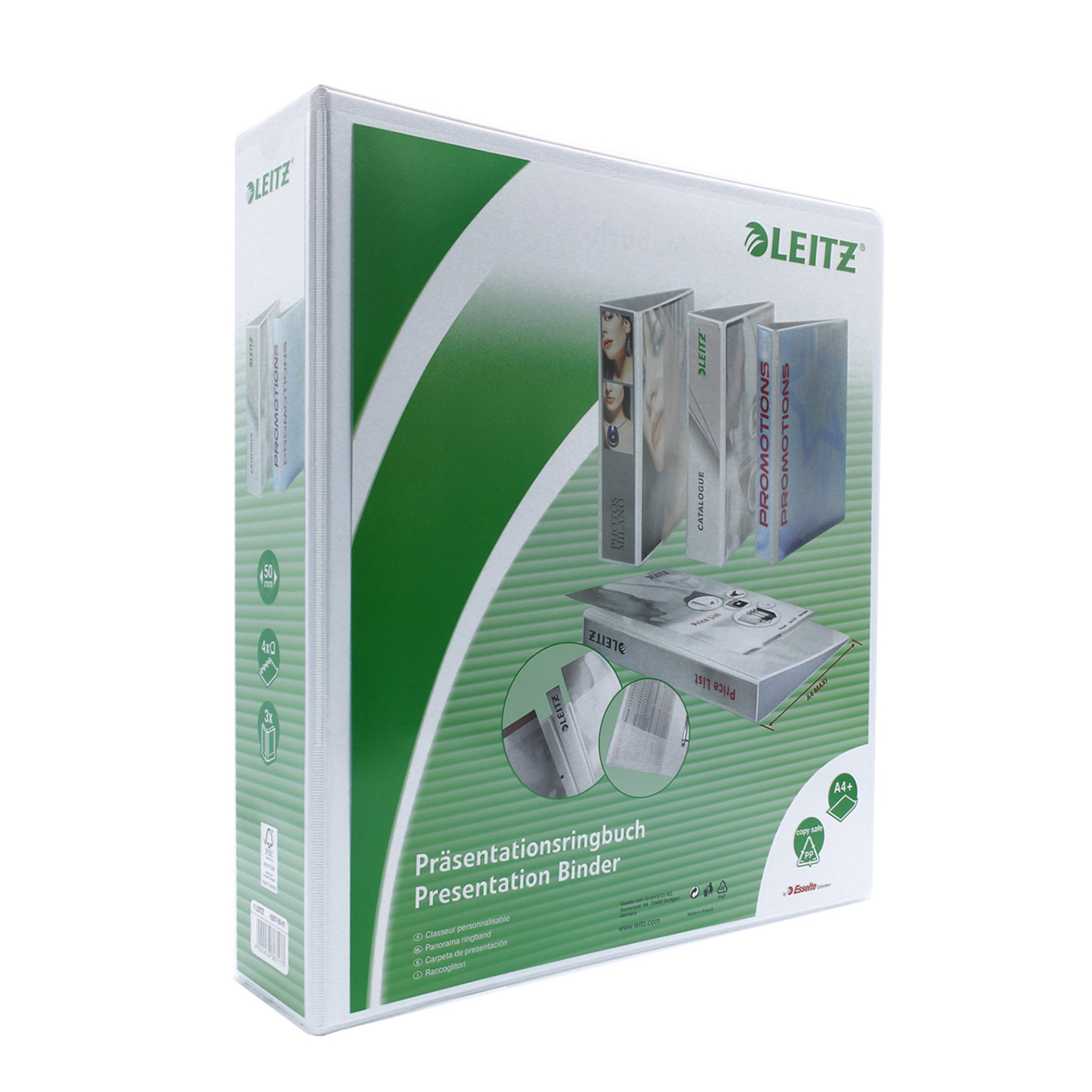 """Leitz 4-Ring View Binder, A4 Size, 3"""" Spine"""