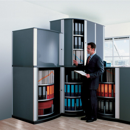 Moll LockFile Binder & File Carousel Cabinet, 3-Tier, Man in Front of Cabinets