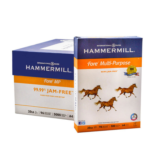 Hammermill 20 lb. Paper Case, A4 Size, 5 Reams, 500 Sheets Per Ream, Product Photo