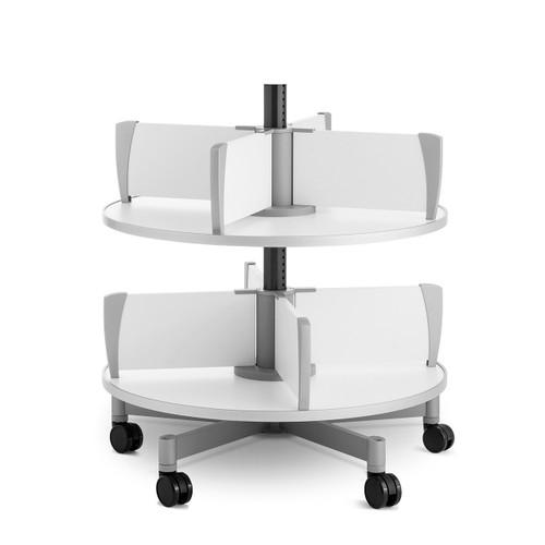 Moll Deluxe Binder & File Carousel, 2-Tier Shelving, Added Wheels