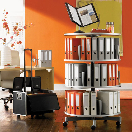 Moll Deluxe Binder & File Carousel, 3-Tier Shelving, Stylized