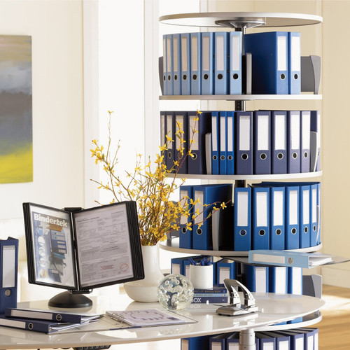 Moll Deluxe Binder & File Carousel, 5-Tier Shelving, Stylized Photo