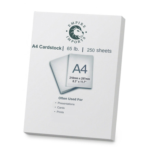 Empire Imports 65 lb. Heavy-Duty Cardstock, A4 Size, 1 Ream, 250 Sheets, Product Photo
