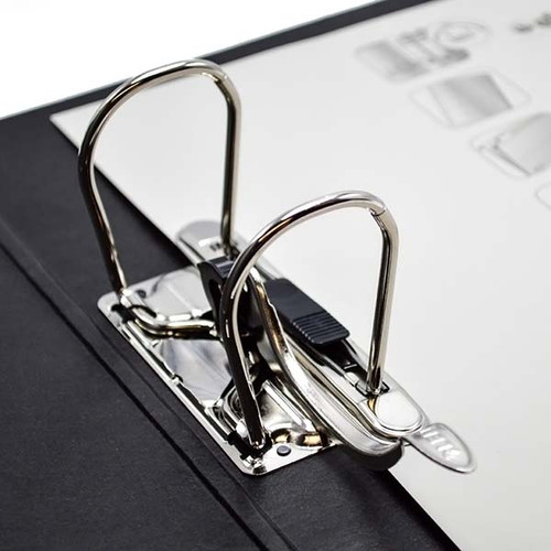 """Leitz 2-Ring Binder for A5 Sized Paper, 3"""" Spine, European Ring Spacing, Ring Close Up"""