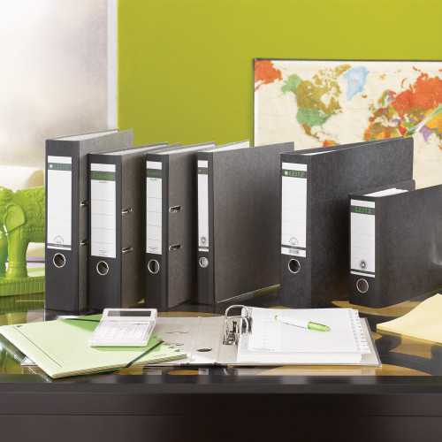 """Leitz R80 Black Marbled 2-Ring Binder, A4 Size, 3"""" Spine, European Ring Spacing, Stylized Photo"""