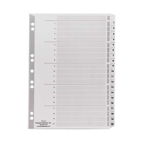 A4 Numeric Index Tabs - 1-20 Tab Set, Product Shot