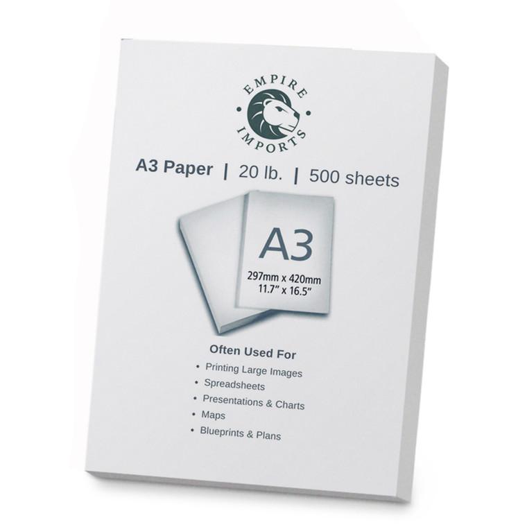 Empire Imports 20 lb. Multi-Purpose Paper, A3 Size, 1 Ream, 500 Sheets, Product Photo