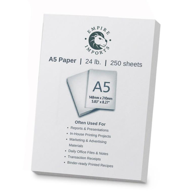 Empire Imports 24 lb. Multi-Purpose Paper, A5 Size, 1 Ream, 250 Sheets, Product Photo