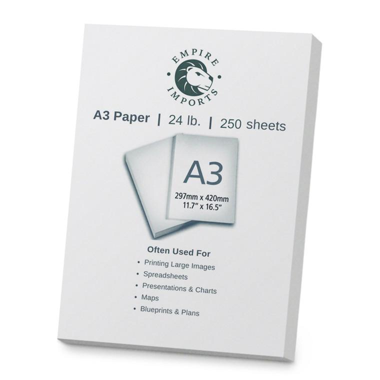 Empire Imports 24 lb. Multi-Purpose Paper, A3 Size, 1 Ream, 250 Sheets, Product Shot