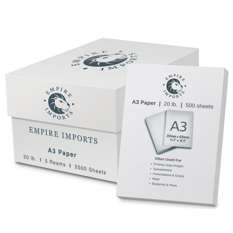 Empire Imports 20 lb. Multi-Purpose Paper Case, A3 Size, 5 Reams, 500 Sheets Per Ream, Product Photo