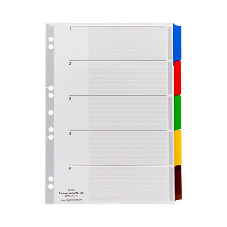 A4 Blank Multi-Colored Index Tabs - 5 Tab Set, Product Shot