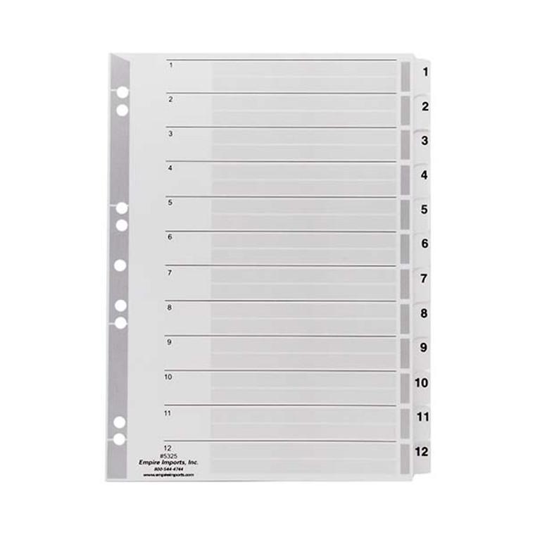 A4 Numeric Index Tabs - 1-12 Tab Set, Product Shot