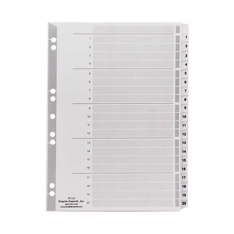 A4 Numeric Index Tabs - 1-20 Tab Set, Product Shot