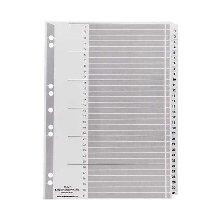 A4 Numeric Index Tabs - 1-31 Tab Set, Product Shot