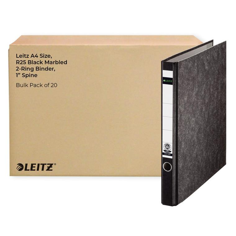 """Leitz A4 Size, R25 Black Marbled 2-Ring Binder, 1"""" Spine, Bulk Pack of 20"""