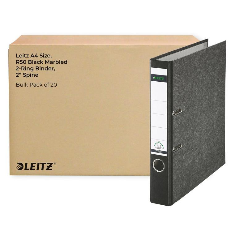 """Leitz A4 Size, R50 Black Marbled 2-Ring Binder, 2"""" Spine, Bulk Pack of 20"""