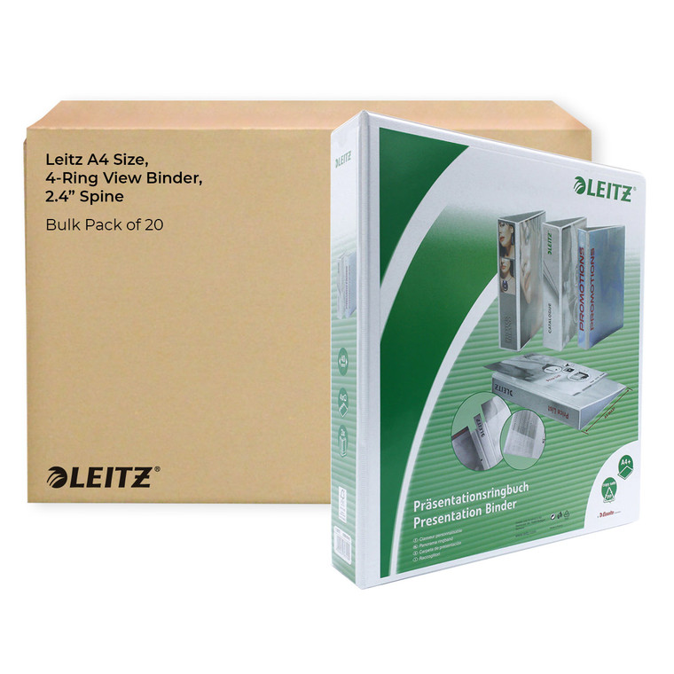 """Leitz A4 Size, 4-Ring View Binder, 2.4"""" Spine, Bulk Pack of 20"""