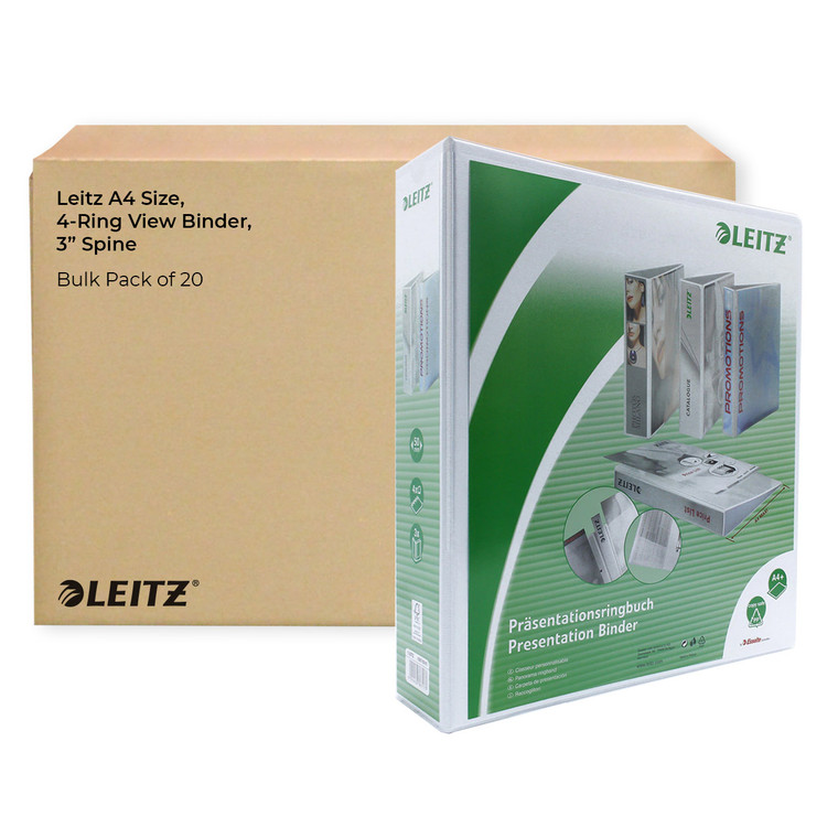 """Leitz A4 Size, 4-Ring View Binder, 3"""" Spine, Bulk Pack of 20"""