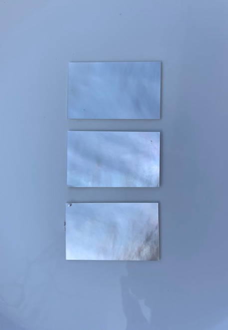 """White Mother of Pearl flat inlay blanks size 22mm (0.866"""") width x 42mm (1.65"""") length x 2mm (0.08"""") thickness A grade clean on both sides."""