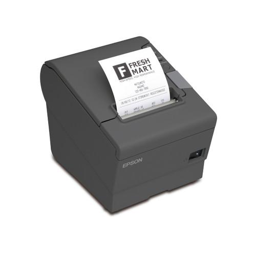Impresora Epson TM-T88V color gris oscuro, vista semi superior con recibo impreso.