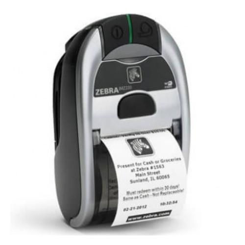 Impresora iMZ220 Zebra color gris con negro, vista semi lateral con recibo impreso.