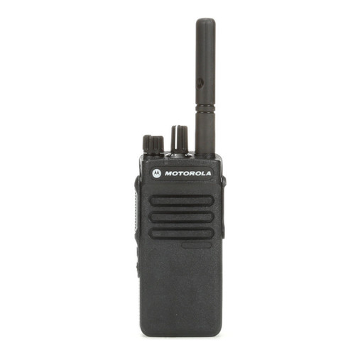 Radio Motorola DEP550e vista frontal con ícono de garantía de fábrica por 24 meses.