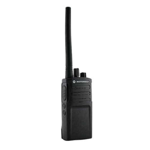 Radio RVA50 Motorola vista frontal con ícono de garantía de fábrica por 12 meses.