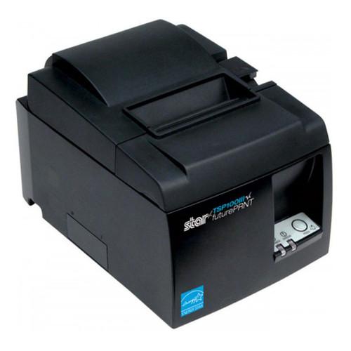 TSP100III, térmica, cortador automático, interfaz dual, USB, color gris, , cable de Ethernet y fuente de alimentación interna.