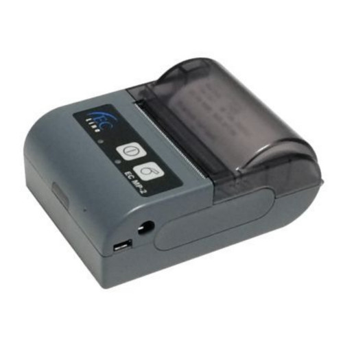 Impresora térmica móvil, papel 58 mm con una velocidad de impresión de 70 mm/s, batería recargable  74V, 1500 mAh e interfaz bluetooth, USB RS-232.