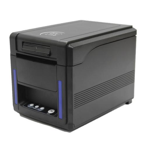 Impresora térmica con una velocidad de impresión de 300 mm/s, papel de 80 mm e interfaz USB + SERIAL + ETHERNET , alerta de luz y sonido.
