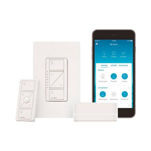 Control de iluminación, Kit para iniciar su casa inteligente, Hub controlador, atenuador (dimmer), control remoto, tapa.