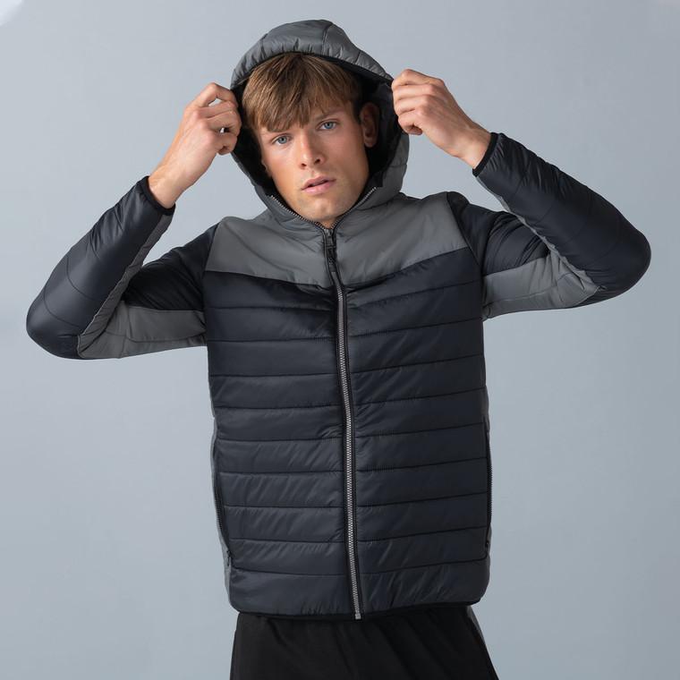 Men's Hooded Contrast Padded Jacket