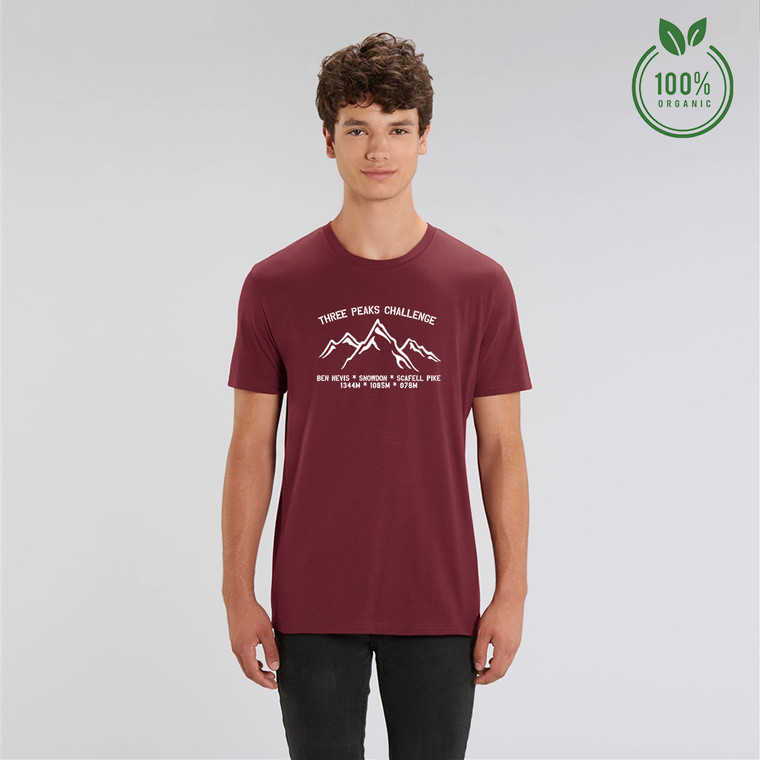 Adult White Three Peaks Challenge Organic Cotton T-shirt