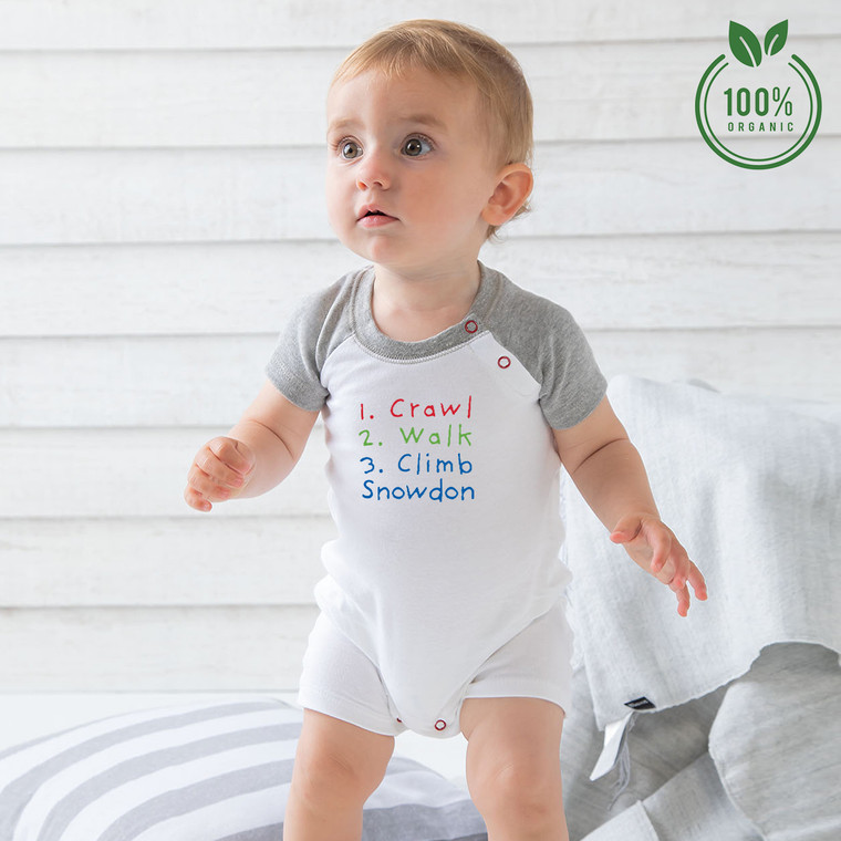 Crawl, Walk, Climb Snowdon Organic Cotton Baby Baseball Playsuit