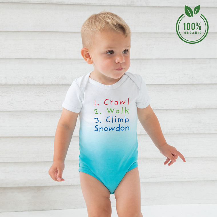 Crawl, Walk, Climb Snowdon Organic Cotton Ombre Baby Bodysuit