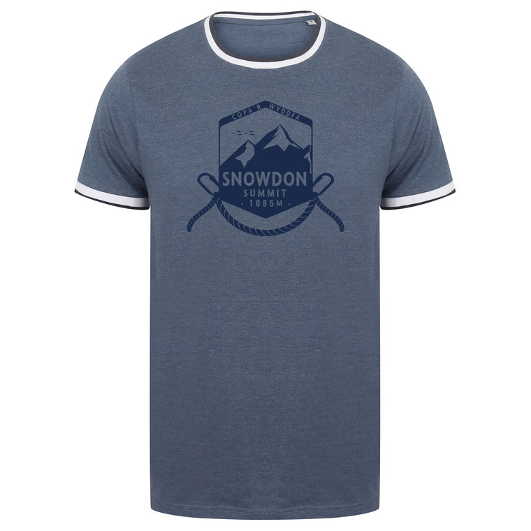 Adult Navy Snowdon Summit Shield Tipped T-Shirt