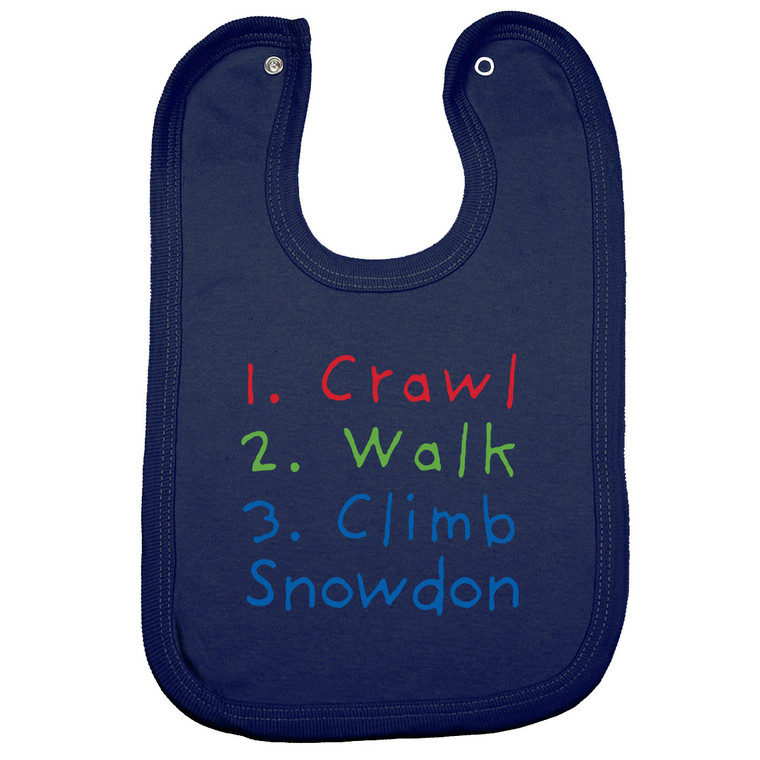 Crawl, Walk, Climb Snowdon Baby Bib