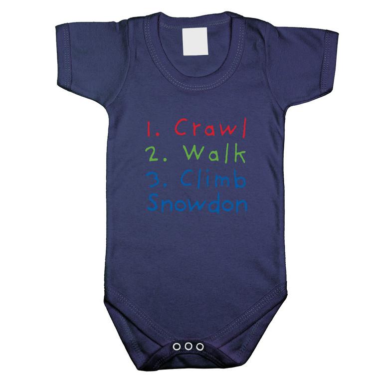 Crawl, Walk, Climb Snowdon Short Sleeve Baby Bodysuit