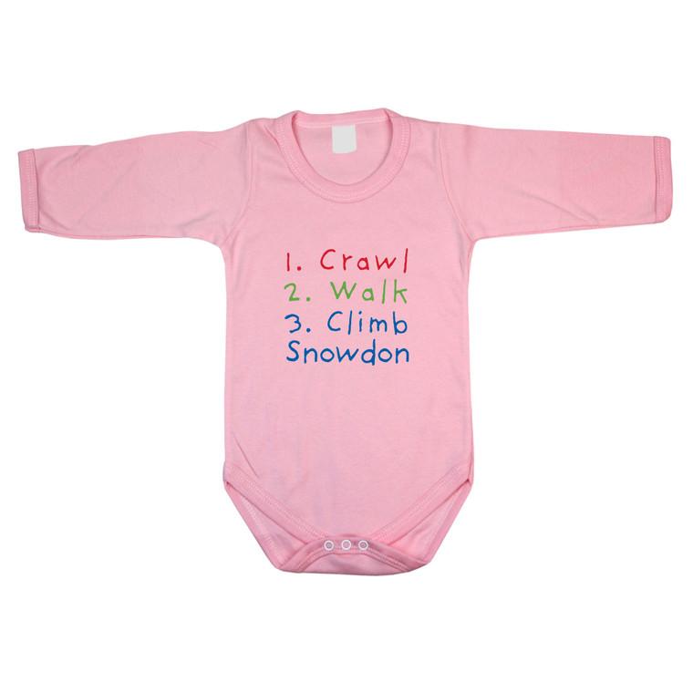Crawl, Walk, Climb Snowdon Long Sleeve Baby Bodysuit