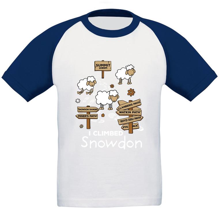 Kids 'I Climbed Snowdon' Baseball T-Shirt