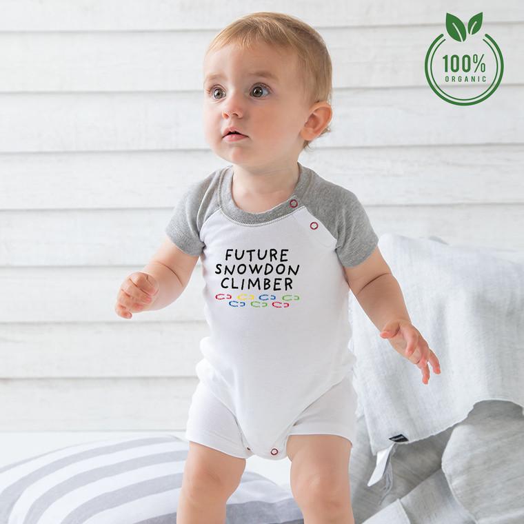 Future Snowdon Climber Organic Cotton Baby Baseball Playsuit