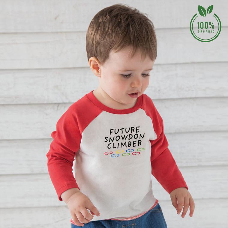 Future Snowdon Climber Baby Organic Cotton Baseball T-Shirt