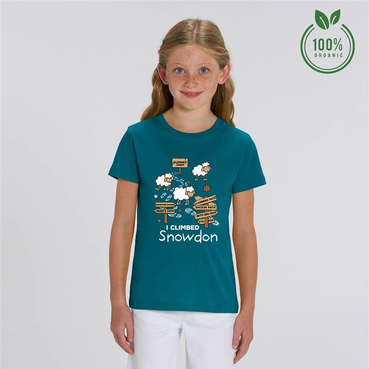 Girls 'I Climbed Snowdon' Organic Cotton T-shirt
