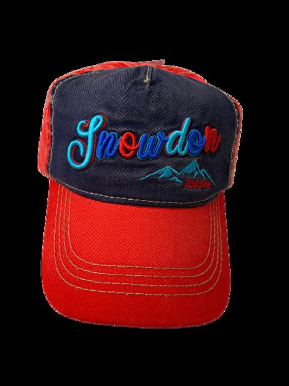 Snowdon Washed Cap-Denim/Red